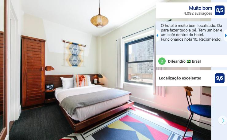 Hotéis bons e baratos em Chicago: quarto do hotel Freehand Chicago